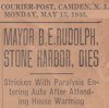 Newspaper article about the death of Mayor Bert E. Rudolph from the Courier-Post, Camden, NJ, Monday, May 13, 1940