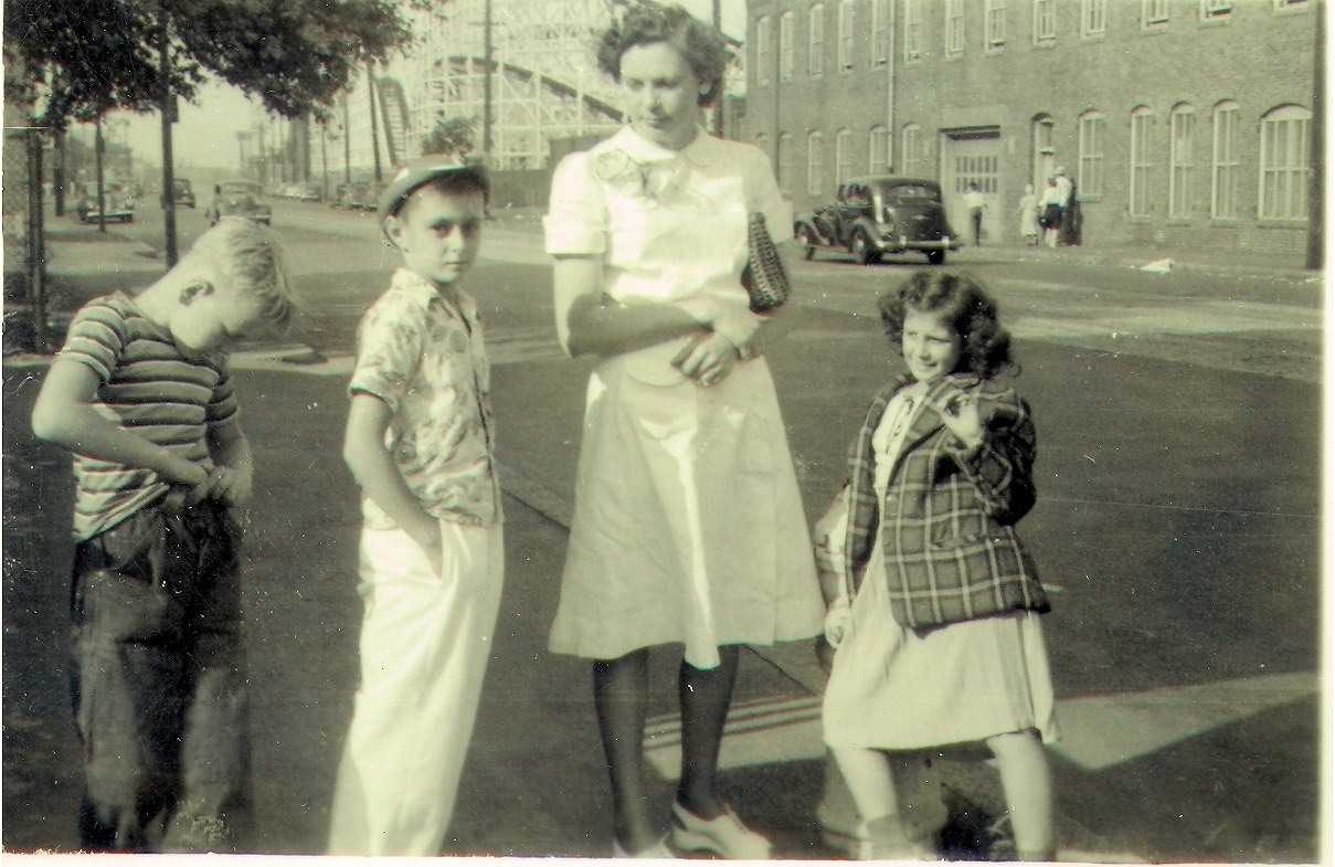 John Mason Rudolph Jr. (middle), their mother Dorothy May Price and his sister Beverly Ann Rudolph at Revere Beach, MA in 1948